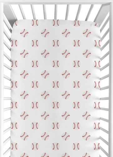 Red and White Baby or Toddler Fitted Crib Sheet for Baseball Patch Sports Collection by Sweet Jojo Designs - Click to enlarge