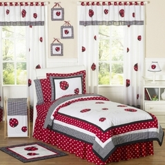 Red and White Ladybug Polka Dot Childrens Bedding - 4 pc Twin Set