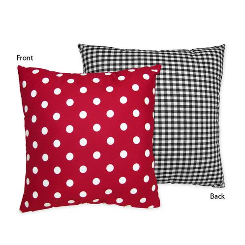 Red and White Ladybug Polka Dot Decorative Accent Throw Pillow by Sweet Jojo Designs - Click to enlarge
