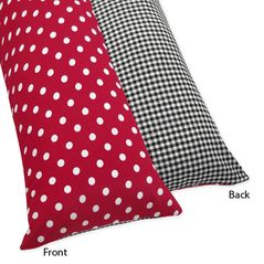 Red and White Ladybug Polka Dot Full Length Double Zippered Body Pillow Case Cover by Sweet Jojo Designs