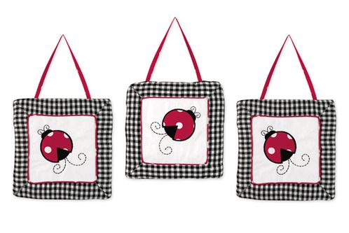 Red and White Ladybug Polka Dot Wall Hanging Accessories by Sweet Jojo Designs - Click to enlarge