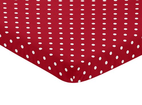 Red and White Polka Dot Baby Fitted Mini Portable Crib Sheet for Ladybug Collection by Sweet Jojo Designs - Click to enlarge