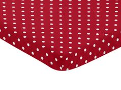 Red and White Polka Dot Baby Fitted Mini Portable Crib Sheet for Ladybug Collection by Sweet Jojo Designs