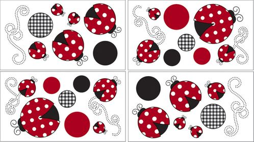 Red and White Polka Dot Little Ladybug Peel and Stick Wall Decal Stickers Art Nursery Decor by Sweet Jojo Designs - Set of 4 Sheets - Click to enlarge
