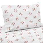 Red and White Queen Sheet Set for Baseball Patch Sports Collection by Sweet Jojo Designs - 4 piece set