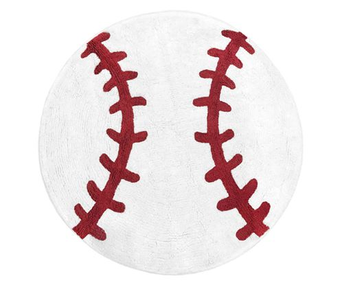 Red and White Round Accent Floor Rug or Bath Mat for Baseball Patch Sports Collection by Sweet Jojo Designs - Click to enlarge
