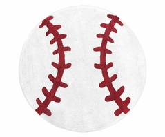 Red and White Round Accent Floor Rug or Bath Mat for Baseball Patch Sports Collection by Sweet Jojo Designs