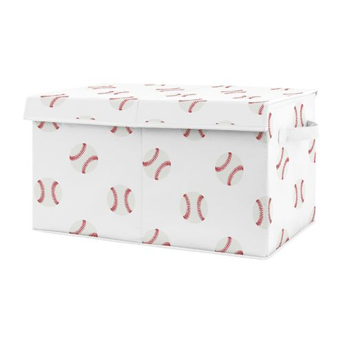 Red and White Sports Boy Baby Nursery or Kids Room Small Fabric Toy Bin Storage Box Chest for Baseball Patch Collection by Sweet Jojo Designs - Click to enlarge