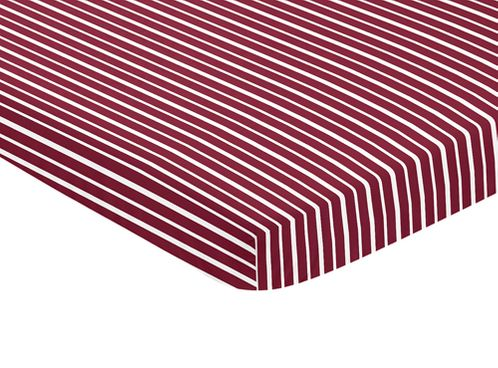 Red and White Stripe Baby Fitted Mini Portable Crib Sheet for Aviator Collection by Sweet Jojo Designs - Click to enlarge