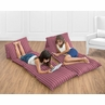 Red and White Stripe Kids Teen Floor Pillow Case Lounger Cushion Cover by Sweet Jojo Designs