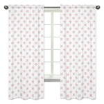 Red and White Window Treatment Panels Curtains for Baseball Patch Sports Collection by Sweet Jojo Designs - Set of 2