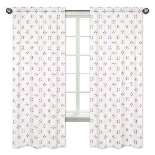 Red and White Window Treatment Panels Curtains for Baseball Patch Sports Collection by Sweet Jojo Designs - Set of 2 - Click to enlarge
