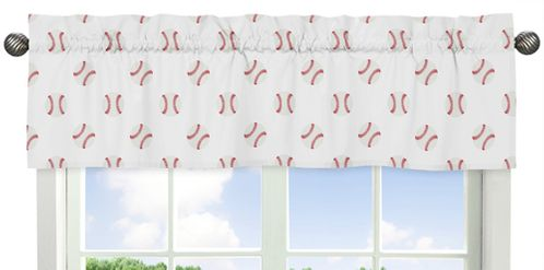 Red and White Window Treatment Valance for Baseball Patch Sports Collection by Sweet Jojo Designs - Click to enlarge