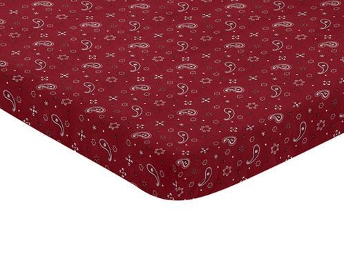 Red Bandana Baby Fitted Mini Portable Crib Sheet for Wild West Collection by Sweet Jojo Designs - Click to enlarge