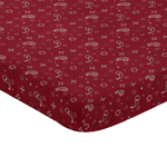 Red Bandana Baby Fitted Mini Portable Crib Sheet for Wild West Collection by Sweet Jojo Designs