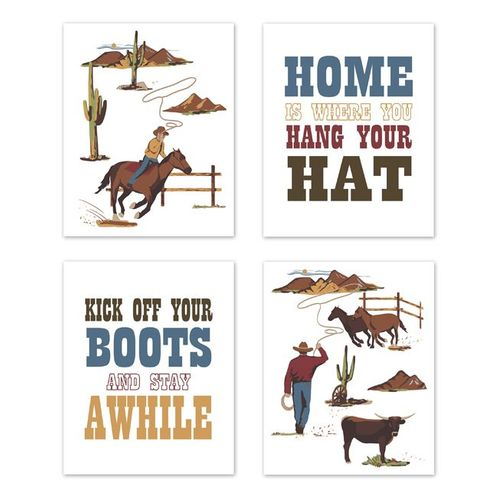 Red, Blue and Tan Cowboy Southern Country Wall Art Prints Room Decor for Baby, Nursery, and Kids for Wild West Collection by Sweet Jojo Designs - Set of 4 - Hat Boots - Click to enlarge
