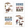 Red, Blue and Tan Cowboy Southern Country Wall Art Prints Room Decor for Baby, Nursery, and Kids for Wild West Collection by Sweet Jojo Designs - Set of 4 - Hat Boots