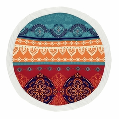 Red Boho Chic Girl Baby Playmat Tummy Time Infant Play Mat by Sweet Jojo Designs - Orange Teal Turquoise and Blue Bohemian Colorful Mandala Vintage Patterned Retro Hippie Hipster