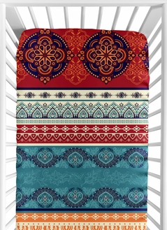 Red Boho Chic Girl Fitted Crib Sheet Baby or Toddler Bed Nursery by Sweet Jojo Designs - Orange Teal Turquoise and Blue Bohemian Colorful Mandala Vintage Patterned Retro Hippie Hipster