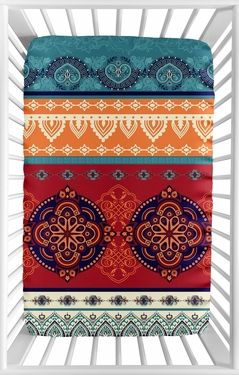 Red Boho Chic Girl Fitted Mini Crib Sheet Baby Nursery by Sweet Jojo Designs For Portable Crib or Pack and Play - Orange Teal Turquoise and Blue Bohemian Colorful Mandala Vintage Patterned Retro Hippie Hipster