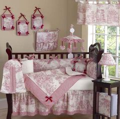 Red French Toile Baby Bedding- 9 pc Crib Set