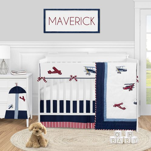 Red White and Blue Airplane Baby Boy Nursery Crib Bedding Set by Sweet Jojo Designs - 5 pieces - Vintage Aviator - Click to enlarge