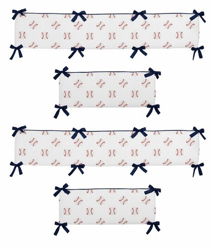 Red, White and Blue Baby Crib Bumper Pad for Baseball Patch Sports Collection by Sweet Jojo Designs - Click to enlarge