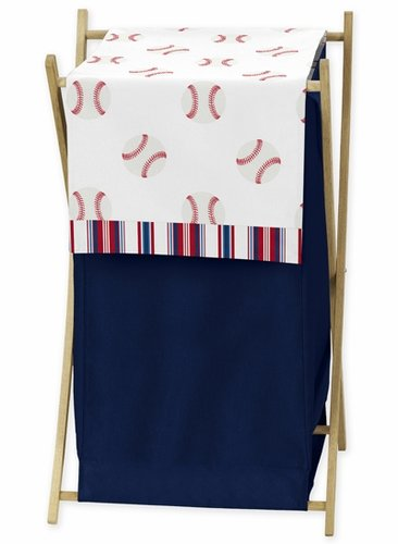 Red, White and Blue Baby Kid Clothes Laundry Hamper for Baseball Patch Sports Collection by Sweet Jojo Designs - Click to enlarge