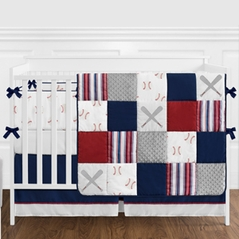 Red, White and Blue Baseball Patch Sports Baby Boy Crib Bedding Set with Bumper by Sweet Jojo Designs - 9 pieces - Grey Patchwork Stripe