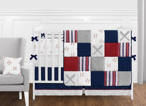 Nursery Bedding Sets Boy.Red White And Blue Baseball Patch Sports Baby Boy Crib Bedding Set With Bumper By Sweet Jojo Designs 9 Pieces Grey Patchwork Stripe