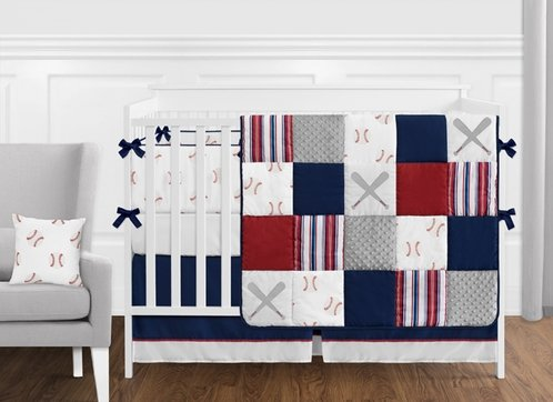 Red, White and Blue Baseball Patch Sports Baby Boy Crib Bedding Set with Bumper by Sweet Jojo Designs - 9 pieces - Grey Patchwork Stripe - Click to enlarge