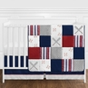 Red, White and Blue Baseball Patch Sports Baby Boy Crib Bedding Set without Bumper by Sweet Jojo Designs - 11 pieces - Grey Patchwork Stripe