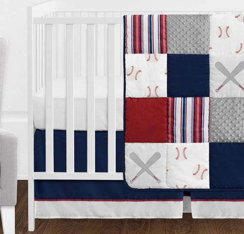 Red White And Blue Baseball Patch Sports Baby Boy Crib
