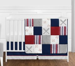 Red, White and Blue Baseball Patch Sports Baby Boy Crib Bedding Set without Bumper by Sweet Jojo Designs - 4 pieces - Grey Patchwork Stripe