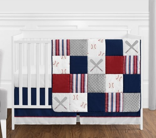 Red, White and Blue Baseball Patch Sports Baby Boy Crib Bedding Set without Bumper by Sweet Jojo Designs - 4 pieces - Grey Patchwork Stripe - Click to enlarge