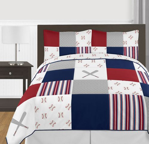 Red, White and Blue Baseball Patch Sports Boy Full / Queen Kid Teen Bedding Comforter Set by Sweet Jojo Designs - 3 pieces - Grey Patchwork Stripe - Click to enlarge