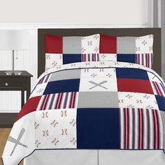 Red, White and Blue Baseball Patch Sports Boy Full / Queen Kid Teen Bedding Comforter Set by Sweet Jojo Designs - 3 pieces - Grey Patchwork Stripe