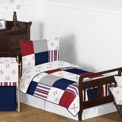Red, White and Blue Baseball Patch Sports Boy Toddler Kid Childrens Bedding Set by Sweet Jojo Designs - 5 pieces Comforter, Sham and Sheets - Grey Patchwork Stripe