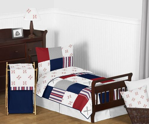 Red, White and Blue Baseball Patch Sports Boy Toddler Kid Childrens Bedding Set by Sweet Jojo Designs - 5 pieces Comforter, Sham and Sheets - Grey Patchwork Stripe - Click to enlarge