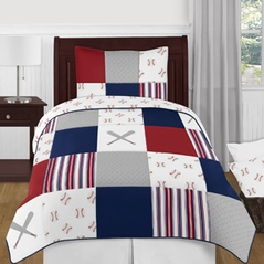 Red, White and Blue Baseball Patch Sports Boy Twin Kid Childrens Bedding Comforter Set by Sweet Jojo Designs - 4 pieces - Grey Patchwork Stripe