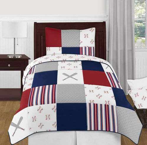 Red, White and Blue Baseball Patch Sports Boy Twin Kid Childrens Bedding Comforter Set by Sweet Jojo Designs - 4 pieces - Grey Patchwork Stripe - Click to enlarge