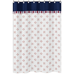 Red, White and Blue Bathroom Fabric Bath Shower Curtain for Baseball Patch Sports Collection by Sweet Jojo Designs