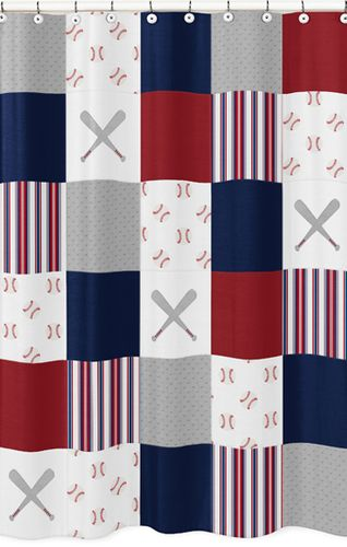 Red White And Blue Bathroom Fabric Bath Shower Curtain For Baseball Patch Sports Collection By Sweet Jojo Designs Grey Patchwork Stripe