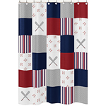 Red, White and Blue Bathroom Fabric Bath Shower Curtain for Baseball Patch Sports Collection by Sweet Jojo Designs - Grey Patchwork Stripe