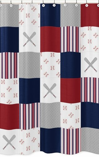 Red, White and Blue Bathroom Fabric Bath Shower Curtain for Baseball Patch Sports Collection by Sweet Jojo Designs - Grey Patchwork Stripe - Click to enlarge