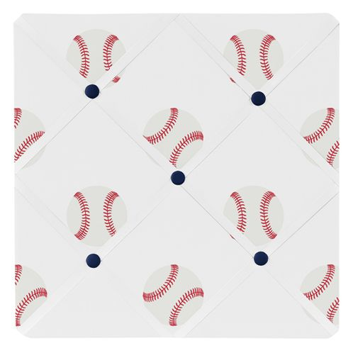 Red, White and Blue Fabric Memory Memo Photo Bulletin Board for Baseball Patch Sports Collection by Sweet Jojo Designs - Click to enlarge