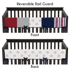 Red, White and Blue Long Front Crib Rail Guard Baby Teething Cover Protector Wrap for Baseball Patch Sports Collection by Sweet Jojo Designs - Grey Patchwork Stripe