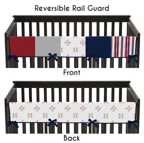 Red, White and Blue Long Front Crib Rail Guard Baby Teething Cover Protector Wrap for Baseball Patch Sports Collection by Sweet Jojo Designs - Grey Patchwork Stripe - Click to enlarge