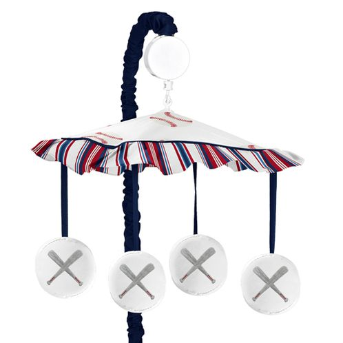 Red, White and Blue Musical Baby Crib Mobile for Baseball Patch Sports Collection by Sweet Jojo Designs - Click to enlarge