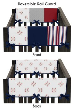 Red, White and Blue Side Crib Rail Guards Baby Teething Cover Protector Wrap for Baseball Patch Sports Collection by Sweet Jojo Designs - Set of 2 - Grey Patchwork Stripe